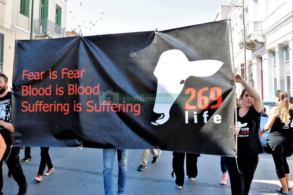 October 6, 2018 - Thens, Greece - Demonstration about animals rights and against animals abuse in Athens part of the Annual Animal rights March with hundreds of activists marching through Athens (Credit Image: © Eleni Paroglou/Pacific Press via ZUMA Wire)