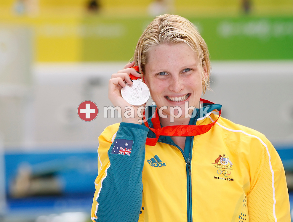 Leisel JONES of Australia poses with her silver medal after finishing second in the women's 200m Breaststroke Final held at the National Aquatics Center at the Beijing 2008 Olympic Games in Beijing, China, Friday, Aug. 15, 2008. (Photo by Patrick B. Kraemer / MAGICPBK)