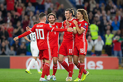 CARDIFF, WALES - Friday, September 6, 2019: Wales' captain Gareth Bale (2nd from R) celebrates the opening goal with team-mates (L-R) Harry Wilson, Joe Allen and Ethan Ampadu during the UEFA Euro 2020 Qualifying Group E match between Wales and Azerbaijan at the Cardiff City Stadium. (Pic by Mark Hawkins/Propaganda)