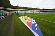 General view with the Sky bet 3D mat inside Home Park Stadium before the EFL Sky Bet League 1 match between Plymouth Argyle and Accrington Stanley at Home Park, Plymouth, England on 22 December 2018.