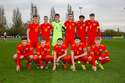 CARDIFF, WALES - Saturday, November 16, 2019: Wales players line-up for a team group photograph before the UEFA Under-19 Championship Qualifying Group 5 match between Russia and Wales at the Cardiff International Sports Stadium. Back row L-R: Cameron Evans, Keenan Pattern, goalkeeper Lewis Webb, Ryan Astley, Christian Norton, captain Morgan Boyes, Sam Bowen, Iestyn Hughes, Joseph Adams, Neco Williams, Samuel Pearson. (Pic by Mark Hawkins/Propaganda)