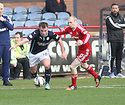 Dundee's Paul McGowan surges away from Aberdeen&rsquo;s Willo Flood - Dundee v Aberdeen, SPFL Premiership at Dens Park<br /> <br />  - &copy; David Young - www.davidyoungphoto.co.uk - email: davidyoungphoto@gmail.com