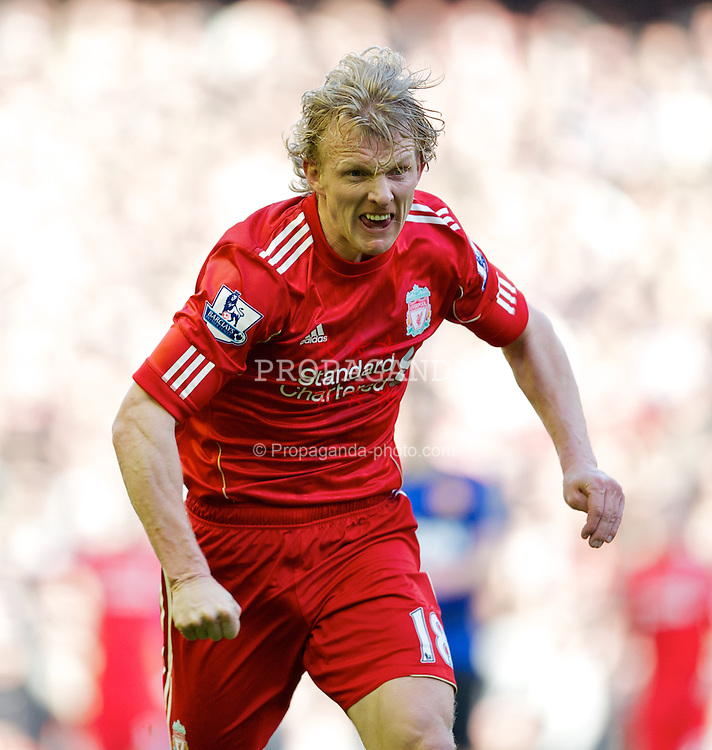 LIVERPOOL, ENGLAND - Saturday, January 28, 2012: Liverpool's Dirk Kuyt in action against Manchester United during the FA Cup 4th Round match at Anfield. (Pic by David Rawcliffe/Propaganda)