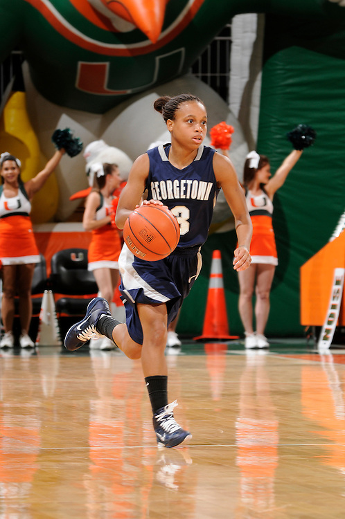 December 7, 2010: Rubylee Wright of the Georgetown Hoyas in action during the NCAA basketball game between Georgetown and the Miami Hurricanes. The 'Canes defeated the Hoyas 81-72.