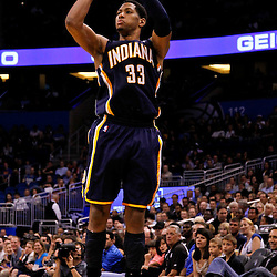 March 11, 2012; Orlando, FL, USA; Indiana Pacers small forward Danny Granger (33) shoots against the Orlando Magic during the third quarter of a game at  Amway Center. The Magic defeated the Pacers 107-94.  Mandatory Credit: Derick E. Hingle-US PRESSWIRE