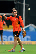 Justin Langer coach of  Perth Scorchers during a practice session before the start of match 4 of the Karbonn Smart Champions League T20 (CLT20) 2013  between The Highveld Lions and the Perth Scorchers held at the Sardar Patel Stadium, Ahmedabad on the 23rd September 2013<br /> <br /> Photo by Pal PIllai-CLT20-SPORTZPICS  <br /> <br /> Use of this image is subject to the terms and conditions as outlined by the CLT20. These terms can be found by following this link:<br /> <br /> http://sportzpics.photoshelter.com/image/I0000NmDchxxGVv4