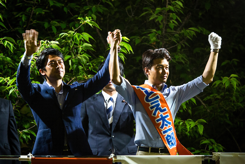 CHIBA, JAPAN - JULY 8 :  Shinjirō Koizumi, a Japanese politician, a member of the House of Representatives of the Liberal Democratic Party (LDP) delivers his campaign speech to support candidate Taichiro Motoe during the Upper House election campaign outside of Shin-Urayasu Station in Chiba, Japan on July 8, 2016. The July 10, 2016 Upper house election is the first nation-wide election in Japan after government law changes its voting age from 20 years old to 18 years old. (Photo by Richard Atrero de Guzman/NUR Photo)