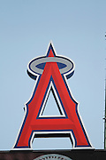 ANAHEIM, CA - JULY 10:  The logo of the Los Angeles Angels of Anaheim looms large over the field during the game against the Seattle Mariners on July 10, 2011 at Angel Stadium in Anaheim, California. (Photo by Paul Spinelli/MLB Photos via Getty Images)
