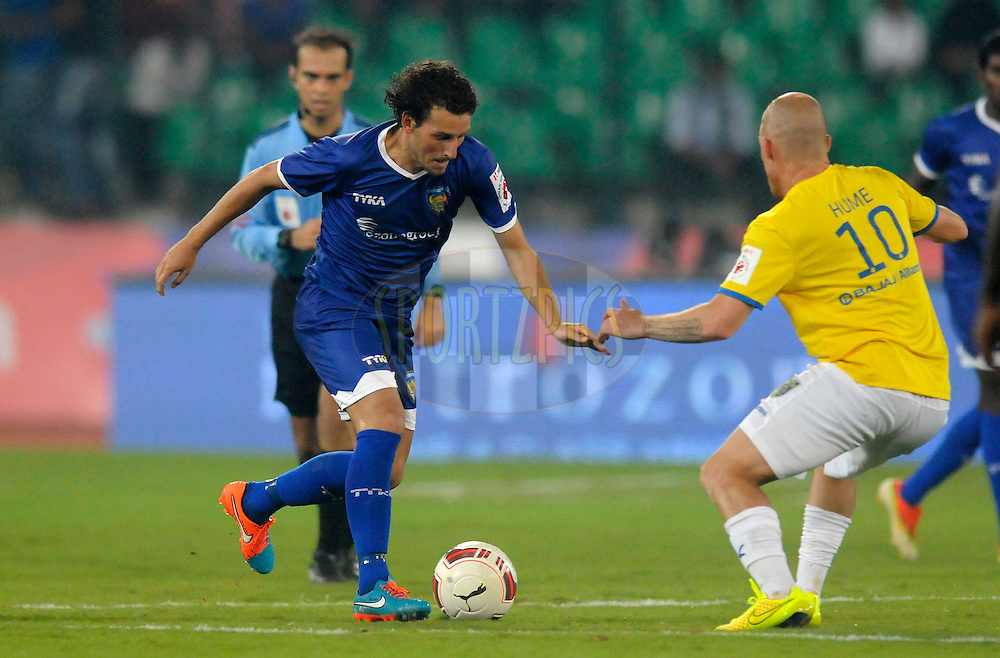 Elano Blumer of Chennaiyin FC and Iain Hume of Kerala Blasters FC fight for the ball during match 9 of the Hero Indian Super League between Chennaiyin FC and Kerala Blasters FC held at the Jawaharlal Nehru Stadium, Chennai, India on the 21st October 2014.<br /> <br /> Photo by:  Pal Pillai/ ISL/ SPORTZPICS