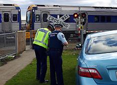 Auckland-Lucky escape in car v train, Takanini