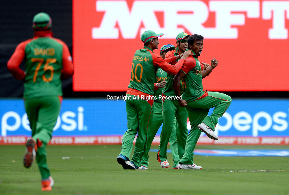 Rubel Hossian (Bang) celebrates the wicket of Virat Kohli (Ind)<br /> India vs Bangladesh / Qtr Final 2<br /> 2015 ICC Cricket World Cup<br /> MCG / Melbourne Cricket Ground <br /> Melbourne Victoria Australia<br /> Thursday 19 March 2015<br /> &copy; Sport the library / Jeff Crow