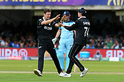Wicket - Matt Henry of New Zealand celebrates taking the wicket of Jason Roy of England during the ICC Cricket World Cup 2019 Final match between New Zealand and England at Lord's Cricket Ground, St John's Wood, United Kingdom on 14 July 2019.