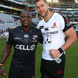 DURBAN, SOUTH AFRICA - MARCH 10: Chiliboy Ralepelle of the Cell C Sharks with Grant Hattingh of the HITO-Communications Sunwolves during the Super Rugby match between Cell C Sharks and Sunwolves at Jonsson Kings Park Stadium on March 10, 2018 in Durban, South Africa. (Photo by Steve Haag/Gallo Images)