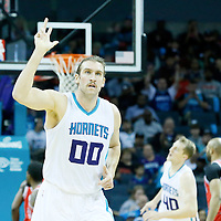 03 November 2015: Charlotte Hornets forward Spencer Hawes (00) celebrates during the Charlotte Hornets  130-105 victory over the Chicago Bulls, at the Time Warner Cable Arena, in Charlotte, North Carolina, USA.