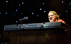 "© Licensed to London News Pictures. 16/09/2012. London, UK.  Keyboarist Brian Auger performs at The Sunflower Jam at the Royal Albert Hall.  The Sunflower Jam is a British charity, founded by Jacky Paice, wife of Deep Purple drummer, Ian Paice. Other high-profile supporters are the actor Jeremy Irons, ex-Jamiroquai bassist Nick Fyffe and Charles, Prince of Wales. The aims of the charity are to fund complementary therapists and spiritual healers to work on cancer wards in the British National Health Service. After setting up a meeting between members of Deep Purple and a young boy dying of leukemia, Paice saw ""all the good work the healers were doing"" and decided ""lets find a way to raise money to get more healers in there. Brian Auger is a jazz and rock pianist who specialises on the Hammond Organ.  Photo credit : Richard Isaac/LNP"
