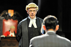 "© Licensed to London News Pictures. 20/10/2017. London, UK. Philip Franks as Mr Myers QC addresses Jack McMullen as Leonard Vole, the accused.  Photocall for ""Witness for the Prosecution"", by Agatha Christie, directed by Lucy Bailey, at London County Hall.  The play opens 23 October. Photo credit : Stephen Chung/LNP"