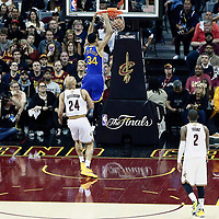 07 June 2017: Golden State Warriors guard Shaun Livingston (34) dunks the ball during the Golden State Warriors 118-113 victory over the Cleveland Cavaliers, in game 3 of the 2017 NBA Finals, at  the Quicken Loans Arena, Cleveland, Ohio, USA.