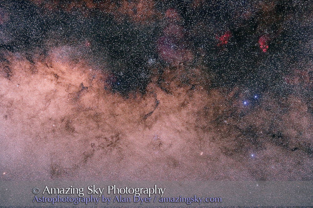 M6 and M7 area, field oriented along Milky Way, with Hutech-modified Canon 5D camera with 135mm f/2 Canon L lens at f/2.8 for 3 minutes at ISO400. Single exposure. Taken from Coonabarabran, NSW, Australia, July 2006.