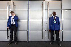 © Licensed to London News Pictures. 01/10/2019. Manchester, UK. Security guards stop access to the Press room after Armed Police arrive at the International Lounge at the Conservative Conference today after an alleged incident in the area, the lounge & press room are now on lockdown. Third day of the Conservative Party Conference at Manchester Central in Manchester. Photo credit: Andrew McCaren/LNP