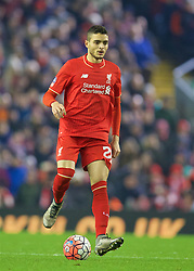 LIVERPOOL, ENGLAND - Wednesday, January 20, 2016: Liverpool's Tiago Ilori in action against Exeter City during the FA Cup 3rd Round Replay match at Anfield. (Pic by David Rawcliffe/Propaganda)