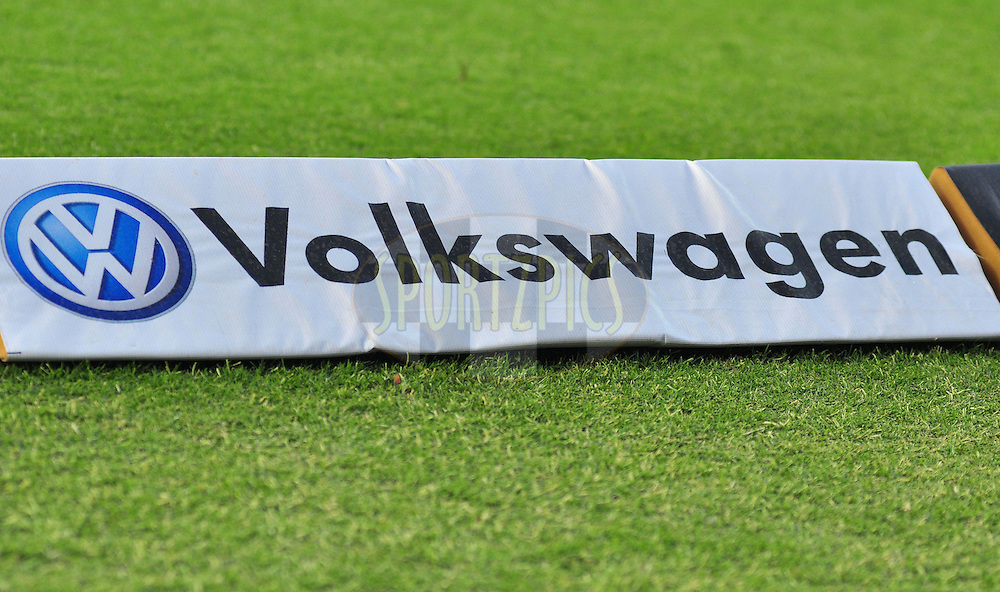 Volkswagen  logo on ground  during match 69 of the the Indian Premier League ( IPL) 2012  between The Kings X1 Punjab and The Delhi Daredevils held at the HPCA Stadium, Dharamsala, on the 19th May 2012..Photo by Arjun Panwar/IPL/SPORTZPICS