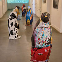 The Maritime Museum of Ushuaia, Argentina is housed in the former Prison at the End of the World and includes an art gallery with Antarctic-inspired artwork such as these penguin sculptures.