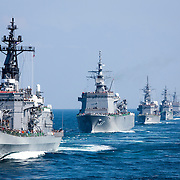 KANAGAWA, JAPAN - OCTOBER 18 : Japan Maritime Self Defense Force's (JMSDF) held fleet review at Sagami Bay on October 18, 2015 in Yokosuka, Kanagawa prefecture, Japan. The fleet review takes place every three years, first time after Prime Minister Shinzo Abe administration passed the controversial security legislation which expand the role of the self-defense force.<br /> Photo: Richard Atrero de Guzman