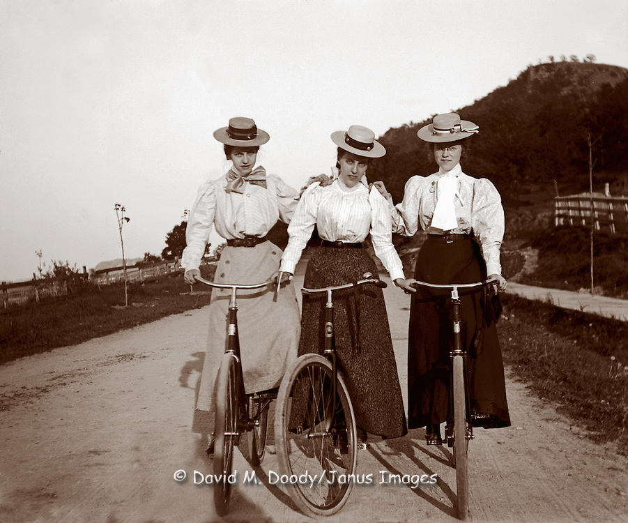 3 ladies on bikes, circa 1900