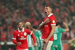 February 3, 2018 - Lisbon, Portugal - Benfica's Portuguese defender Ruben Dias celebrates after scoring a goal during the Portuguese League football match SL Benfica vs Rio Ave FC at the Luz stadium in Lisbon on February 3, 2018. (Credit Image: © Pedro Fiuza/NurPhoto via ZUMA Press)