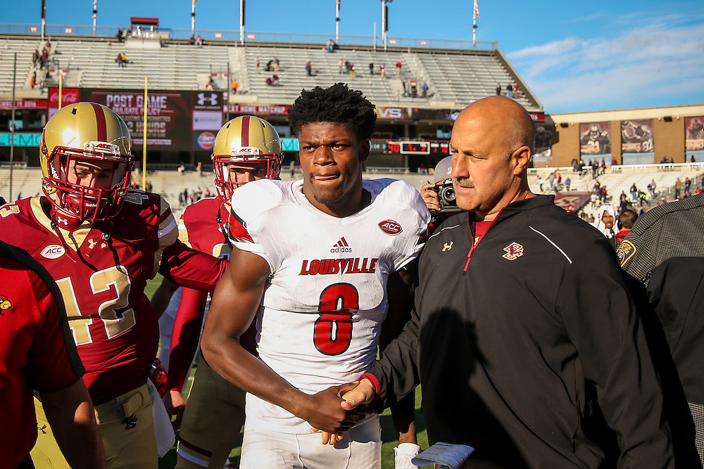 CHESTNUT HILL, MA - NOVEMBER 05: Lamar Jackson #8 of Louisville shakes hands with Head Coach Steve Addazio of Boston College following a game at Alumni Stadium on November 5, 2016 in Chestnut Hill, Massachusetts.  (Photo by Billie Weiss/Getty Images) *** Local Caption *** Lamar Jackson; Steve Addazio