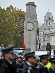 © Licensed to London News Pictures. 11/11/2011. London, UK. The Cenotaph protested by police officers and police vehicles. Police arrest members of the EDL near the Cenotaph following a Remembrance Day service today (11/11/2011). A large group of EDL members where arrested. Police a. Photo credit : Stephen Simpson/LNP