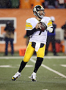Pittsburgh Steelers quarterback Ben Roethlisberger (7) drops back to pass during the NFL AFC Wild Card playoff football game against the Cincinnati Bengals on Saturday, Jan. 9, 2016 in Cincinnati. The Steelers won the game 18-16. (©Paul Anthony Spinelli)