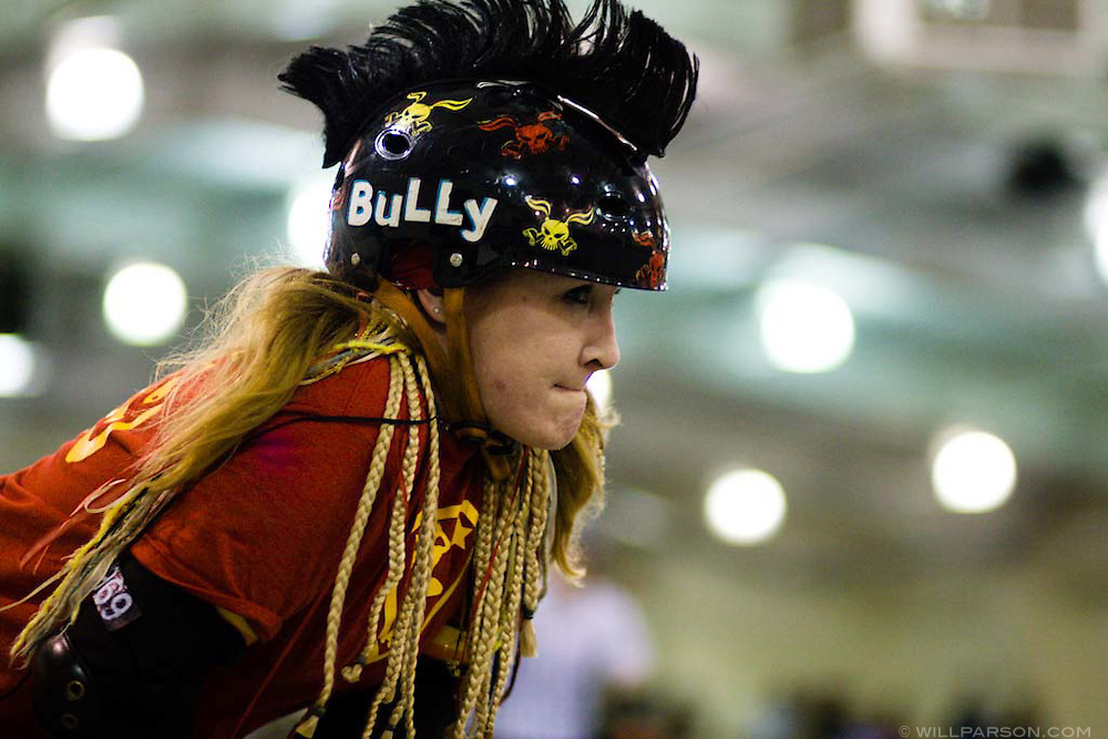 Bully Julie of the Superheroes.  The San Diego Derby Dolls were at the Del Mar Fairgrounds in Del Mar, California on November 08, 2008.  The all-female roller derby league, founded in 2005, features serious competition among skaters with tongue-in-cheek names such as Anita Battle and Isabelle Ringer.