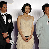 """HONG KONG - MARCH 22:  Hong Kong actor Jackie Chan (R), Chinese actresses Fan Bingbing (C) and Japanese actor Masaya Kato attend the Opening Ceremony of the 33rd Hong Kong International Film Festival and the Gala Premiere of the opening films """"Shinjuku Incident """" at the Hong Kong Convention and Exhibition Centre on March 22, 2009 in Hong Kong.  Photo by Victor Fraile / studioEAST"""