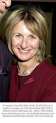 Art patron the HON.MRS JANET DE BOTTON at a party in London on 12th September 2001.	OSE 5