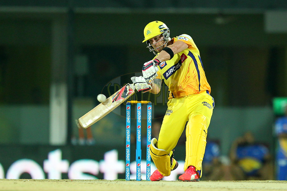 Brendon Mc Cullum  of Chennai Super Kings during match 47 of the Pepsi IPL 2015 (Indian Premier League) between The Chennai Superkings and The Rajasthan Royals held at the M. A. Chidambaram Stadium, Chennai Stadium in Chennai, India on the 10th May 2015.Photo by:  Prashant Bhoot / SPORTZPICS / IPL