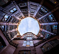 BARCELONA, SPAIN - CIRCA MAY 2018: Interior view of the Atrium in La Pedrera, also known as Casa Mila or The Stone Quarry. A famous building in the center of Barcelona designed by Antoni Gaudi.