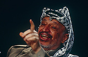 Palestinian leader Yasser Arafat speaks during an event in the summer of 1993 in London, UK. Mohammed Yasser Abdel Rahman Abdel Raouf Arafat al-Qudwa (1929 – 2004) was a Palestinian leader and Chairman of the Palestine Liberation Organization (PLO), President of the Palestinian National Authority (PNA) and leader of the Fatah political party and former paramilitary group, which he founded in 1959.