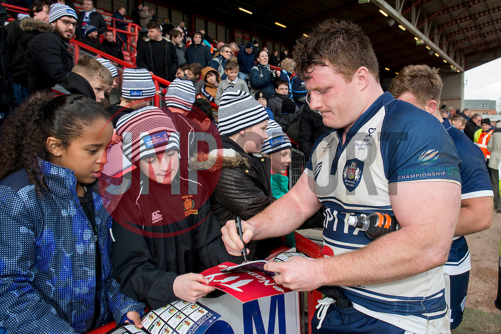 Bristol Rugby Prop Kyle Traynor signs autographs for fans - Photo mandatory by-line: Dougie Allward/JMP - Mobile: 07966 386802 - 29/03/2015 - SPORT - Rugby - Bristol - Ashton Gate - Bristol Rugby v Bedford Blues - Greene King IPA Championship