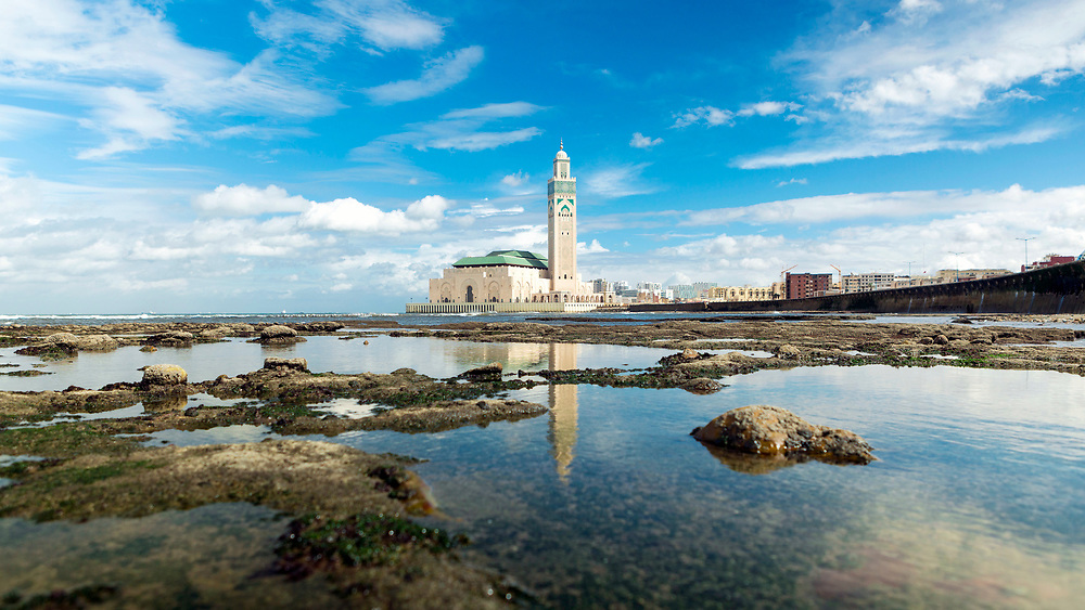 CASABLANCA, MOROCCO - October 19th 2015 - Hassan II Mosque - the largest Mosque in Africa.