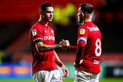 Pedro Pereira of Bristol City high fives Josh Brownhill of Bristol City - Mandatory by-line: Robbie Stephenson/JMP - 10/12/2019 - FOOTBALL - Ashton Gate - Bristol, England - Bristol City v Millwall - Sky Bet Championship