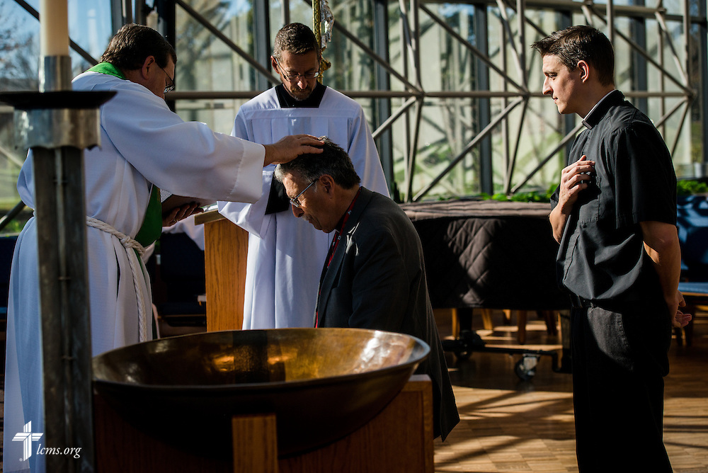 A Service of Installation for the Rev. Jonathan Fisk and the Rev. Mark Hawkinson (kneeling) of KFUO Radio on Thursday, Nov. 10, 2016,  in the chapel of the International Center of The Lutheran Church–Missouri Synod in St. Louis. LCMS Communications/Erik M. Lunsford