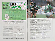 Irish Rugby Football Union, Ireland v England, Five Nations, Landsdowne Road, Dublin, Ireland, Saturday 23rd April, 1988,.23.04.1988, 04.23.1988,..Referee- Rene Hourquet,..Score- Ireland 10- 21 England,..Irish Team, ..H P MacNeill,  Wearing number 15 Irish jersey, Full Back, London Irish Rugby Football Club, London, England, ..J F Sexton, Wearing number 14 Irish jersey, Right Wing, Dublin University Rugby Football Club, Dublin, Ireland,..V Cunningham, Wearing number 13 Irish jersey, Right Centre, St Marys Rugby Football Club, Dublin, Ireland,..B J Mullin, Wearing number 12 Irish jersey, Left Centre, Blackrock Rugby Football Club, Dublin, Ireland, ..M J Kiernan, Wearing number 11 Irish jersey, Left Wing, Dolphin Rugby Football Club, Cork, Ireland,..P M Dean, Wearing number 10 Irish jersey, Out Half, St Marys College Rugby Football Club, Dublin, Ireland,..F P Aherne, Wearing number 9 Irish jersey, Scrum Half, Dolphin Rugby Football Club, Cork, Ireland,..M E Gibson, Wearing number 8 Irish jersey, Forward, London Irish Rugby Football Club, London, England,..W Sexton, Wearing number 7 Irish jersey, Forward, Garryowen Rugby Football Club, Limerick, Ireland, ..P M Mathews, Wearing number 6 Irish jersey, Forward, Wanderers Rugby Football Club, Dublin, Ireland,..W A Anderson, Wearing number 5 Irish jersey, Forward, Dungannon Rugby Football Club, Tyrone, Northern Ireland, ..D G Lenihan, Wearing number 4 Irish jersey, Captain of the Irish team, Forward, Cork Constitution Rugby Football Club, Cork, Ireland,..J J Mcoy, Wearing number 3 Irish jersey, Forward, Bangor Rugby Football Club, Down, Northern Ireland,..S J Smith, Wearing number 2 Irish jersey, Forward, Ballymena Rugby Football Club, Antrim, Northern Ireland, ..T P J Clancy, Wearing number 1 Irish jersey, Forward, Lansdowne Rugby Football Club, Dublin, Ireland,..English Team, ..J M Webb, Wearing number 15 English jersey, Full Back, Bristol Rugby Football Club, Bristol, England, ..J Bentley, Wearing number 14 English jerse