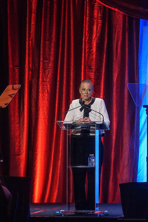 Lonnie Ali, Vice Chair and co-founder of the Muhammad Ali Center, speaks at the fourth annual Muhammad Ali Humanitarian Awards Saturday, Sept. 17, 2016 at the Marriott Hotel in Louisville, Ky. (Photo by Brian Bohannon for the Muhammad Ali Center)