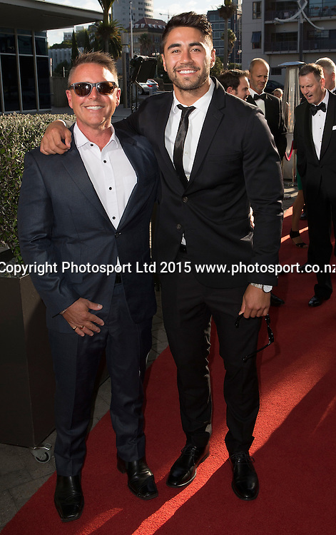 Rugby League`s Shaun Johnson, right, poses for a picture on the red carpet at the 52nd Halberg Awards. Halberg Disability Sport Foundation. Vector Arena, Auckland, New Zealand. Wednesday 11 February 2015. Copyright Photo: David Rowland / www.photosport.co.nz