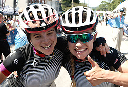 2013 winner Evelyn Stevens and a team mate celebrate the victory. Scenes from the 2011-2014 Philadelphia International Bicyling Classic #ManayunkWall Bike Race, traditionally held in the first week of June. (photo by Bastiaan Slabbers/BasSlabbers.com)<br /> <br /> For license options of Philadelphia International Cycling Classic related imagery please visit my editoiral stock portfolio at Getty Images/iStock.com: istockphoto.com/portfolio/basslabbers