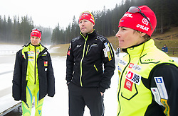 Teja Gregorin, Uros Velepec, head coach and Andreja Mali during practice session of Slovenian biathlon team before new winter season 2012/13 on November 19, 2012 in Rudno polje, Pokljuka, Slovenia. (Photo By Vid Ponikvar / Sportida)