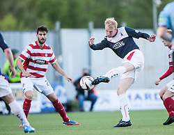 Falkirk's Mark Beck shots.<br /> Falkirk 1 v 1 Hamilton, Scottish Premiership play-off semi-final first leg, played 13/5/2014 at the Falkirk Stadium.