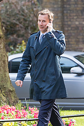 Downing Street, London, April 12th 2016. Health Secretary Jeremy Hunt arrives at the weekly cabinet meeting. <br /> &copy;Paul Davey<br /> FOR LICENCING CONTACT: Paul Davey +44 (0) 7966 016 296 paul@pauldaveycreative.co.uk