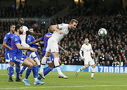 LONDON, Nov. 27, 2019  Tottenham Hotspur's Harry Kane (2nd R) scores a goal during the UEFA Champions League Group B match between Tottenham Hotspur and Olympiakos at the Tottenham Hotspur Stadium in London, Britain on Nov. 26, 2019..FOR EDITORIAL USE ONLY. NOT FOR SALE FOR MARKETING OR ADVERTISING CAMPAIGNS. NO USE WITH UNAUTHORIZED AUDIO, VIDEO, DATA, FIXTURE LISTS, CLUB/LEAGUE LOGOS OR ''LIVE'' SERVICES. ONLINE IN-MATCH USE LIMITED TO 45 IMAGES, NO VIDEO EMULATION. NO USE IN BETTING, GAMES OR SINGLE CLUB/LEAGUE/PLAYER PUBLICATIONS. (Photo by Matthew Impey/Xinhua) (Credit Image: © Han Yan/Xinhua via ZUMA Wire)